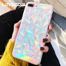 LOVECOM Laser Clear Diamond Triangle Phone Case For