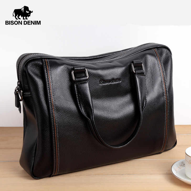 BISON DENIM Genuine Leather Men Bag Laptop Briefcase Male Famous Brand Crossbody Bag Business Men's Handbag Shoulder Bag N2739-4