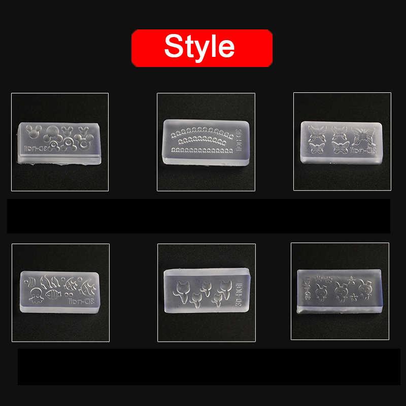3D อะคริลิคแม่พิมพ์สำหรับตกแต่งเล็บ DIY เครื่องมือซิลิโคนแม่พิมพ์แม่แบบเล็บรูปแบบแม่พิมพ์เล็บ Art Salon การออกแบบ