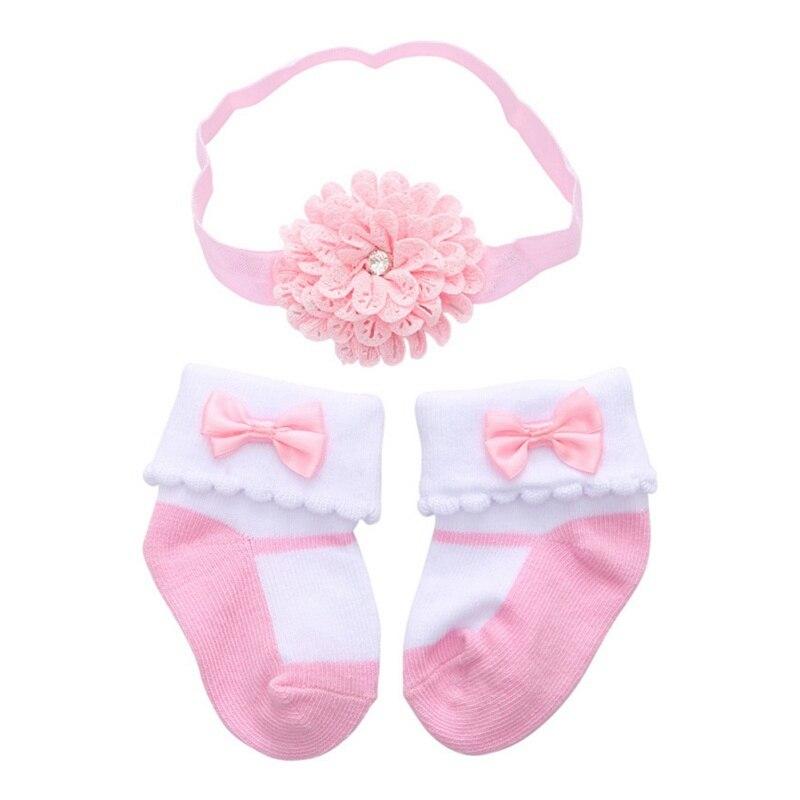 0-12M Infant Baby Big Velvet Stretch Hair Band Crown Flower Slip Soft Non-Slip Cotton Socks 2pcs Kids Children's Headwear Gift