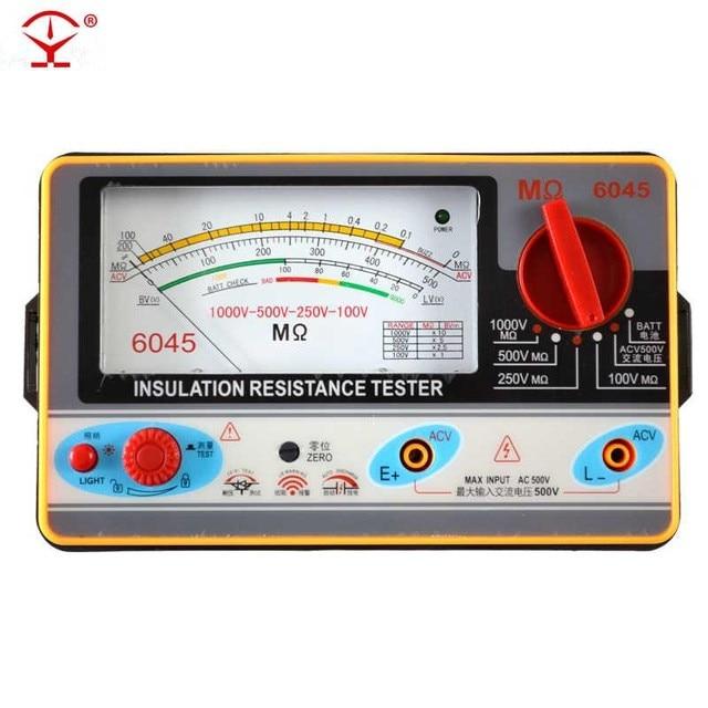 TY6045 testeur de résistance, pointeur d'isolation des 100V-250V-500V-1000V mètre de résistance, testeur d'isolation analogique, 0.5-2000M de résistance