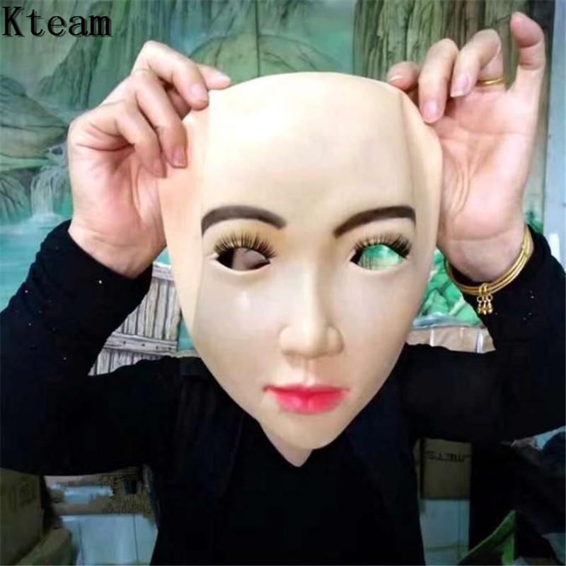 Fun COS Realistic Female Mask For <font><b>Halloween</b></font> Human Female Masquerade Latex Party Mask <font><b>Sexy</b></font> Girl Crossdress Costume <font><b>Cosplay</b></font> Mask image