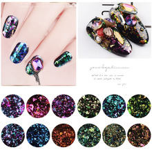 цена на 1 box Chameleon Magic Mirror Effect Flakes Multi Chrome Nail Powder Glitter Sequins Nail Art Gel Nail Polish Manicure