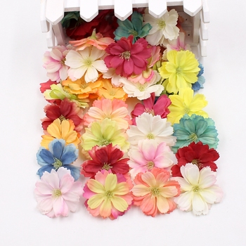 10pcs mini silk plum blossom artificial flower wedding decoration DIY wreath clip clip accessories handmade craft flower head