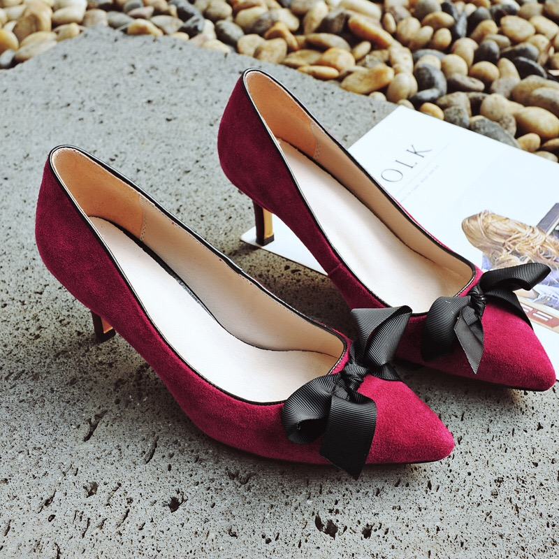 Handmade Spring Summer Women High Heels Pumps Lady Pointed Toe Shoes Genuine Leather Party Shoes Bowknot Footwear fashion new spring summer med high heels good quality pointed toe women lady flock leather solid simple sexy casual pumps shoes