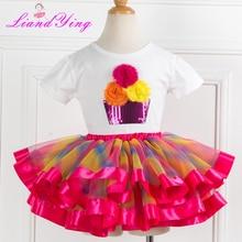 Новинка года, летние повседневные комплекты для детей футболка с цветами и блестками+ пушистая юбка-пачка, комплекты одежды для девочек детский летний костюм для От 2 до 12 лет