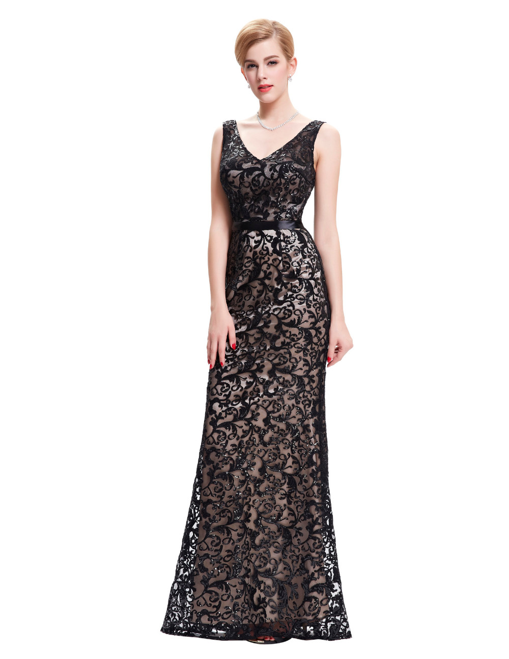 Long Evening Dress Kate Kasin Double V Neck Beaded Evening Gowns Lace Mother of the Bride Dresses Black Formal Prom Dress 0034 8