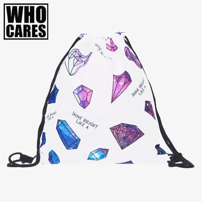 Galaxy diamonds 3D Printing backpack women mochila 2017 fashion bag organizer school bags for teenagers sac a dos drawstring bag muti style 3d printing backpack women drawstring bag 2017 fashion new school bags for teenagers mochila feminina ja12