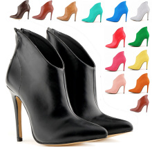 Free Shipping Ladies' Fashion Boots Elegant  Pointed Toe Spike High Heel Ankle Boots For Women 15 Colors Candy Lady Dress Boots