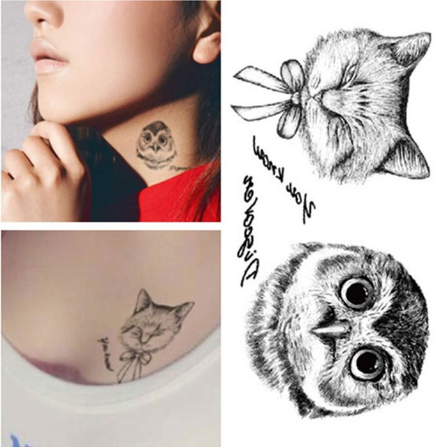 1pcs Night Owl Temporary Tattoo For Female Transfer Stickers On The Body Neck Waterproof Fake Tattoos Adhesives Flash Tatuajes