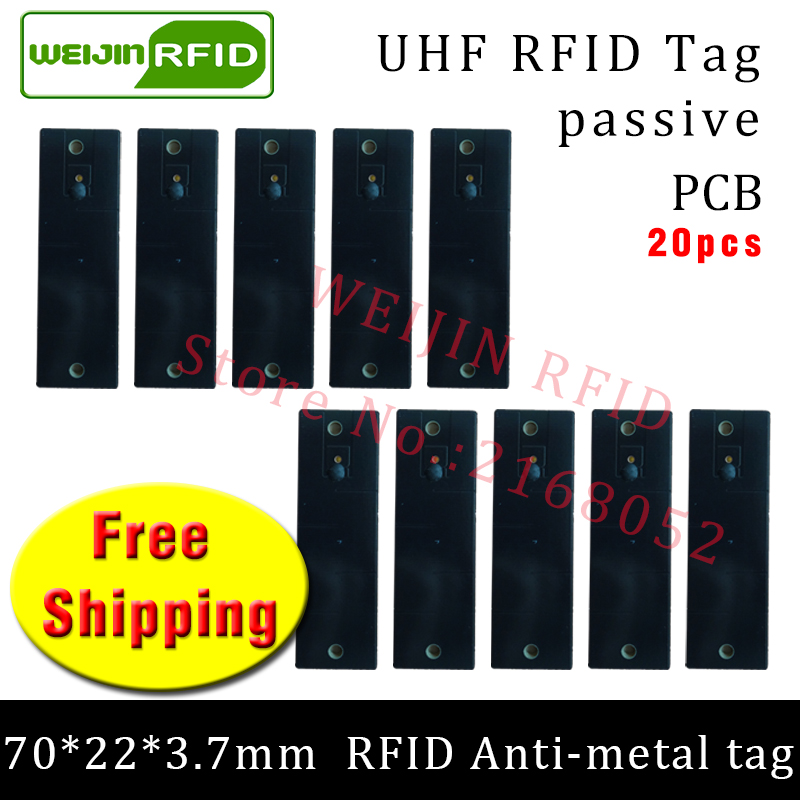 UHF RFID metal tag 915m 868m EPC 20pcs free shipping fixed-assets management 70*22*3.7mm rectangle PCB passive RFID tags