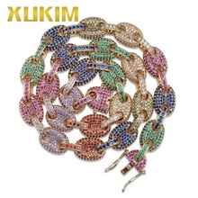 Xukim Jewelry 12mm Solid Colorful Silver Gold Color Cuban Link Chain Full Iced Out Rapper Rock Hip Hop Gift Party