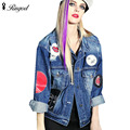 2017 Women Jeans Jacket Autumn Winter Loose Personalized Badge Designs Girls Denim Jackets Outerwear Female Long-sleeve Top Coat