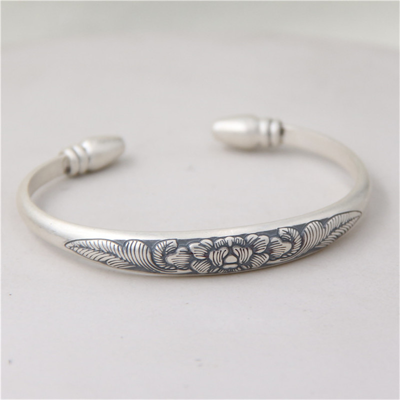 JINSE S999 Sterling Silver Bracelets Peony Flower Hand Carved Bangles Opening Adjustable Design Fine Jewelry 9mm 26.90G TYC088 s999 sterling silver carved peony flower bracelet silver pendant bracelet for women