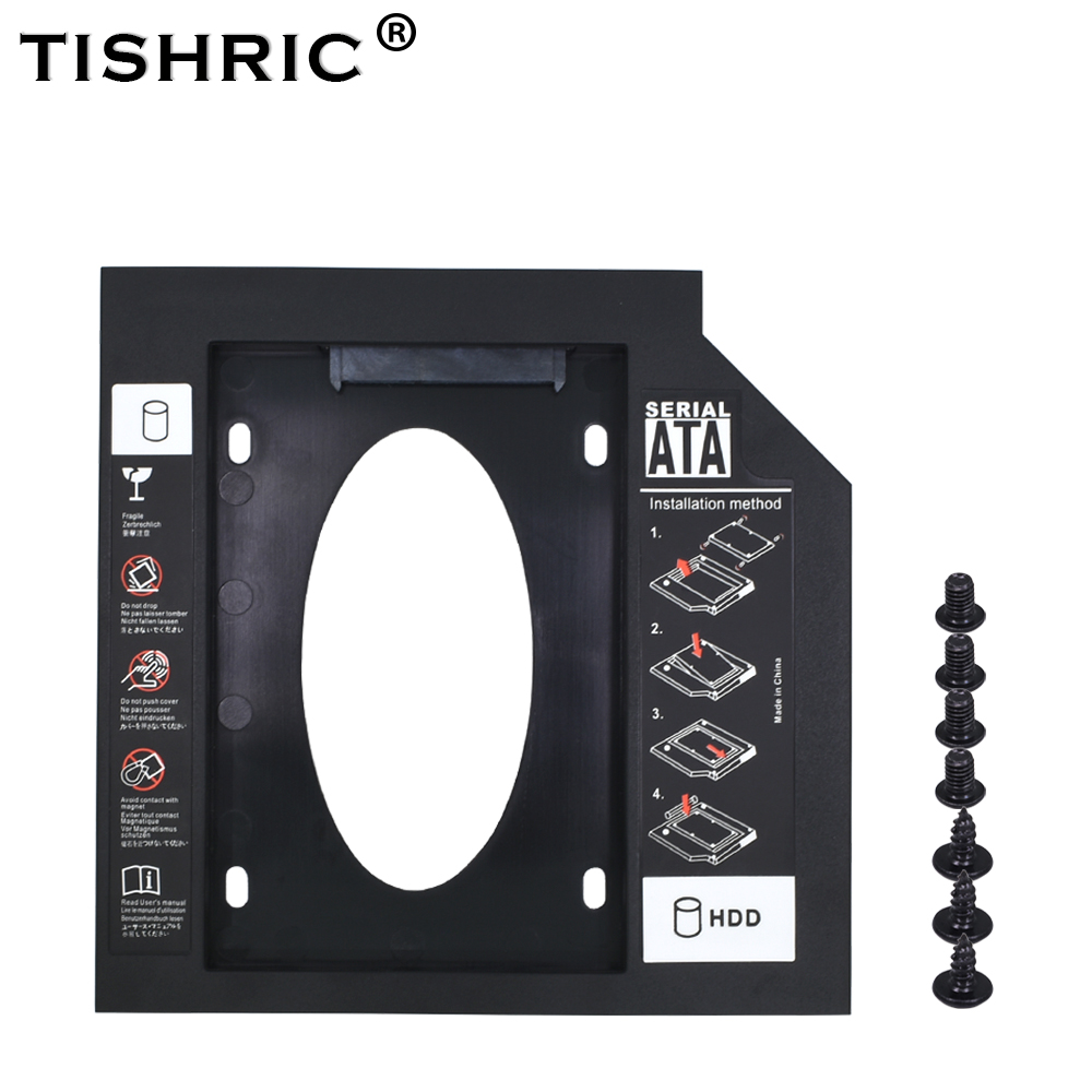 TISHRIC New Plastic 2nd Second HDD Caddy 12.7mm SATA 3.0 Optibay 2.5'' SSD DVD CD-ROM Adapter Hard Disk Driver Case Enclosure