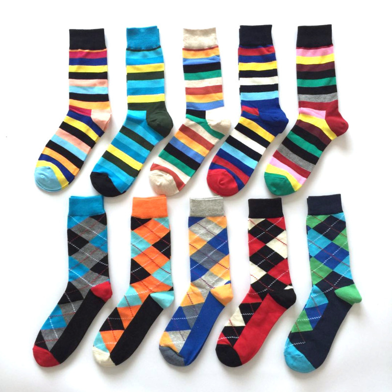 Classic Plaid Striped Socks Men New British Style Colorful Geometry Long Combed Cotton Socks For Business Happy Socks