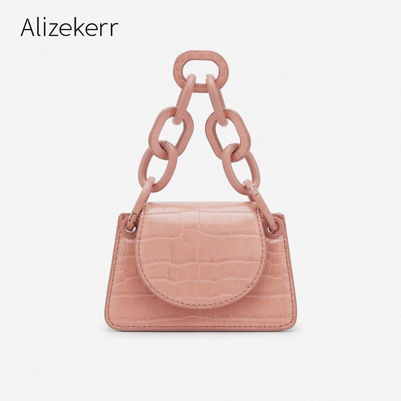 Thick Chain Mini Lipstick Handbags Women Cute Crocodile Pattern Zebra Print Small Square Messenger Bag Girls Casual Coin Purse