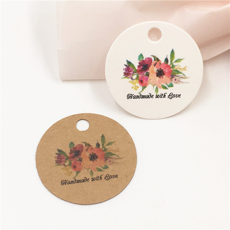 100pcs Paper Handmade With Love Flower Gift Tag Packaging Love Gift Decoration Small Craft Labels Jewelry Price Tag
