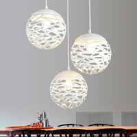 Modern LED pendant light iron Hollow out metal ball lamp living room bedroom shop bar contemporary lighting fixture decoration
