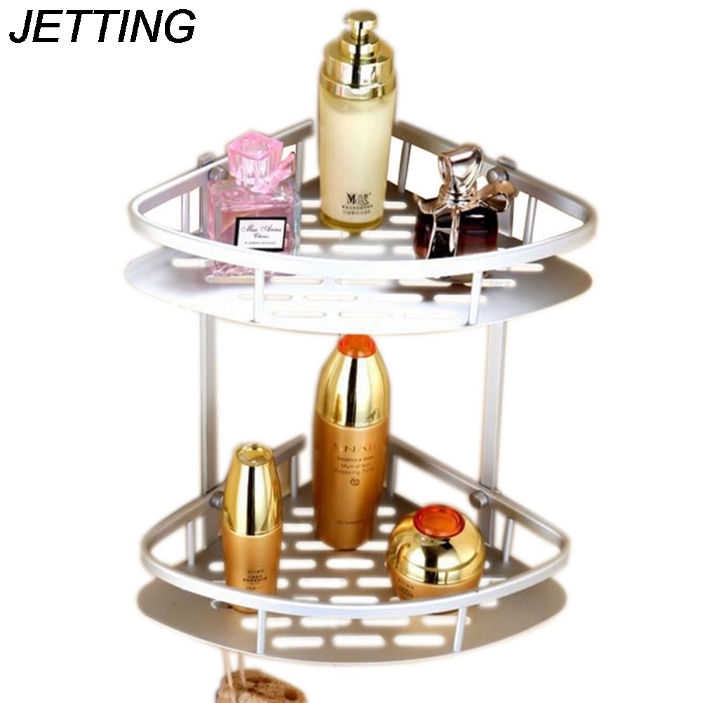 Nickel bathroom accessories - Jetting Double Tier Brushed Nickel Space Aluminum Wall Mounted Bathroom Shelf Shower Caddy Rack Bathroom Accessories