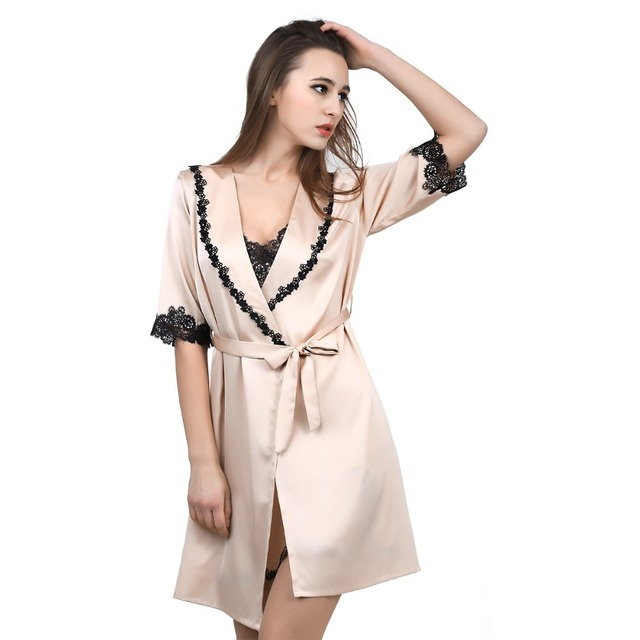 Solid Lace Chiffon Robe & Nightgown Set Women's Bathrobe Sexy Women Robes Femme Silk Feeling Dressing Gowns Home Clothes