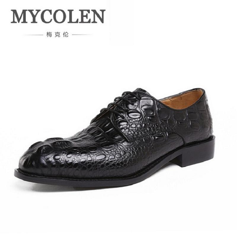 MYCOLEN Crocodile Print Dress Shoes Men Genuine Leather Formal Shoes British Fashion Men Derby Shoes For Business herren schuhe men s dress shoes crocodile pattern british work shoes men s business shoes elegant fashion shoes with suit