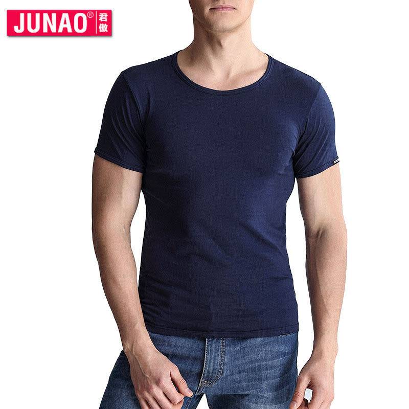 Mens t shirt short-sleeved round neck stretch cotton underwear men comfortable cotton half-sleeved undershirt white JunAo ...