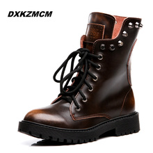 2016 Handmade Winter Women Boots Snow boots Ladies Genuine Leather Martin boots female