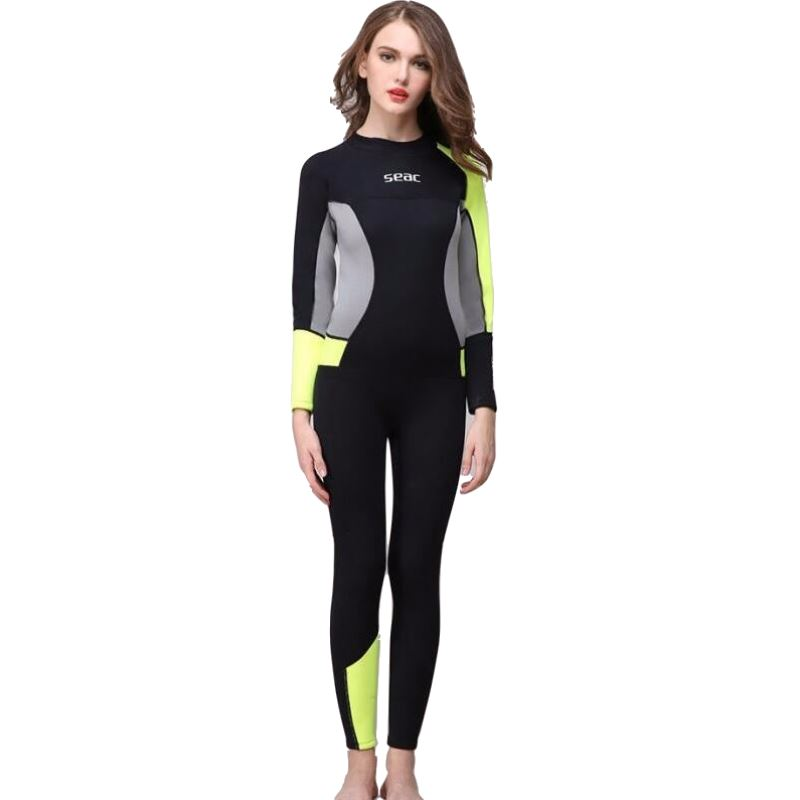 3mm Neoprene Women Girl Spearfishing Wetsuit One Piece Swimsuit Diving Surf Swim Wet Suit Swimwear Long sleeve Beach Triathlon high quality cortex 3 5mm surf diving wet suits jacket men women surfing diving spearfishing wet suit long sleeve jacket wetsuit