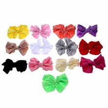 5pcs/lot 11cm Cute Chiffon Flower Hair Bows DIY Baby Girls Accessory Without Clips Handmade Ornament For Headbands