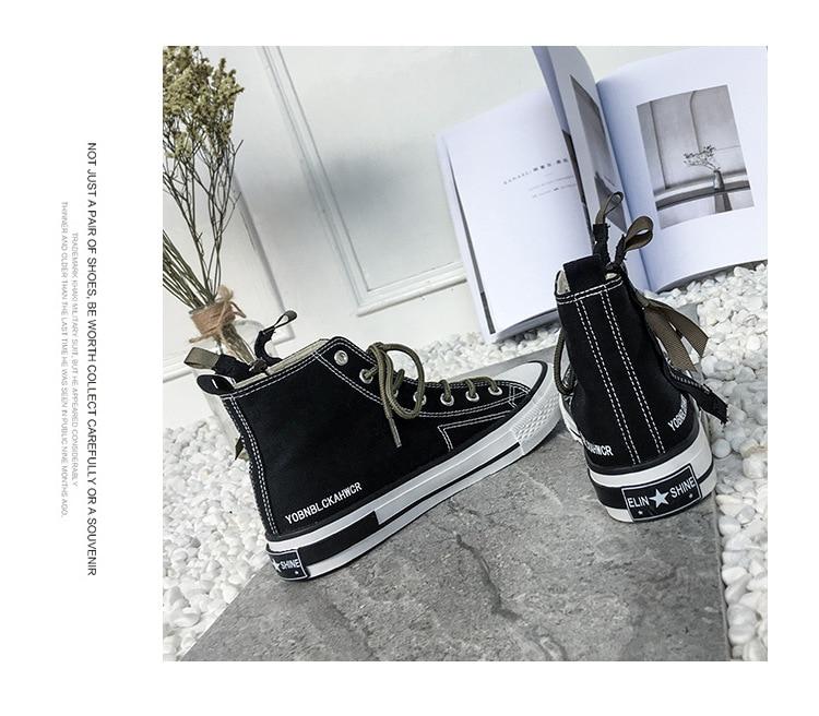 Blanc Chaussures Hommes Toile Jeune Mujer Couple Mode Couleur Design Tendance Contraste Sneakers Femmes white Zapatos Plat Haute Automne Black q1xxBRP