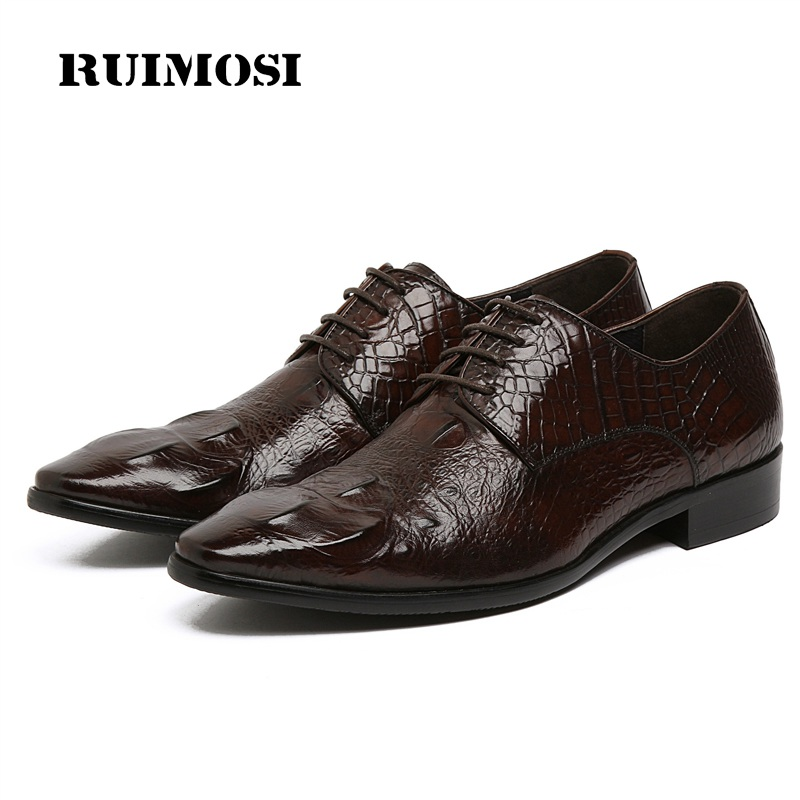RUIMOSI Hot Saling Pointed Crocodile Man Formal Dress Wedding Shoes Genuine Leather Male Oxfords Men's Derby Bridal Flats KE49