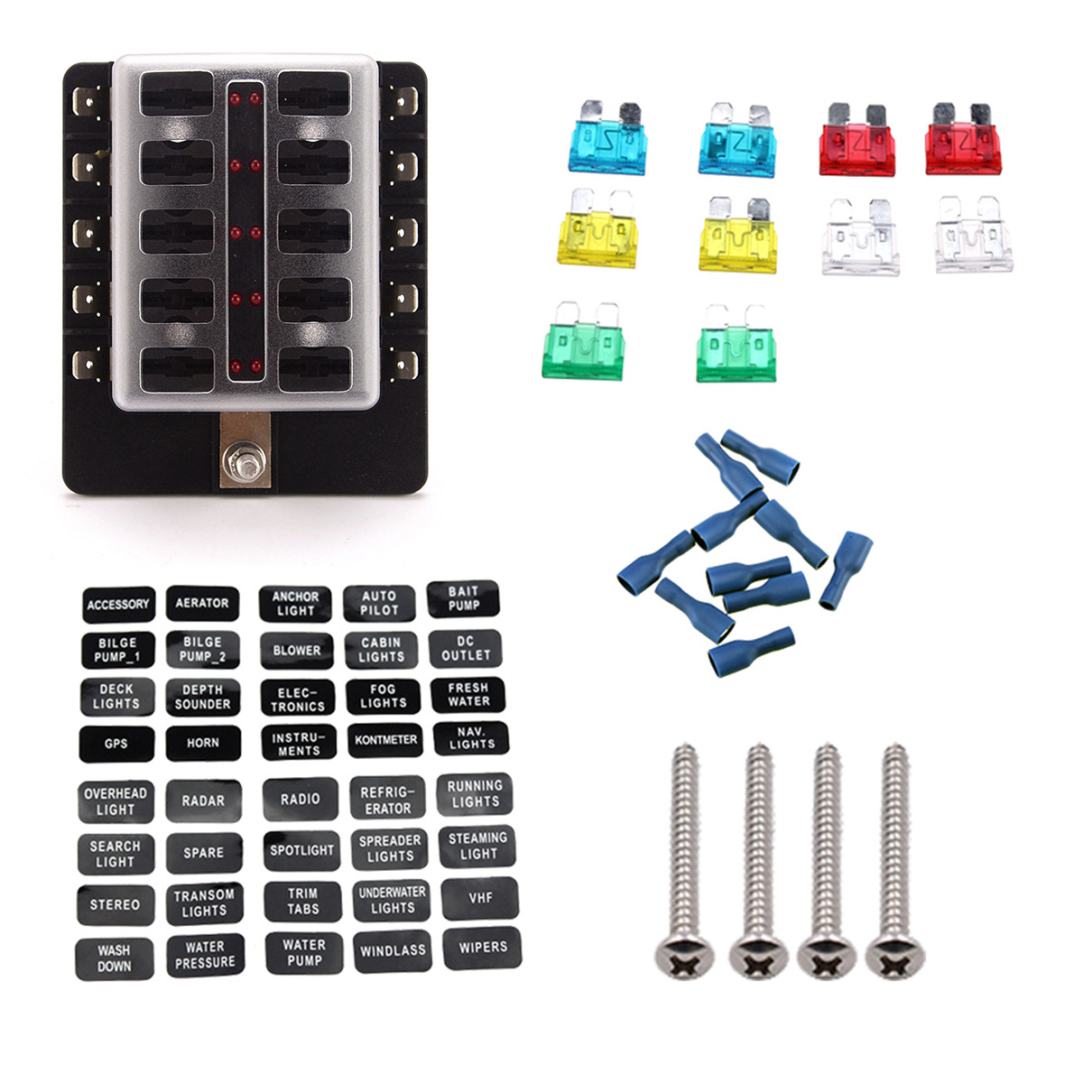 High Precision Melting Point Car Fuse Box Fusibles Auto Block Melted 10 Way Light And Pc Terminal Medium 10a 15a 20a
