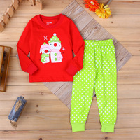 2016 Brand Kids Print Christmas Clothes Sets Long Sleeve Top Dot Pants Boy Girl Autumn Winter