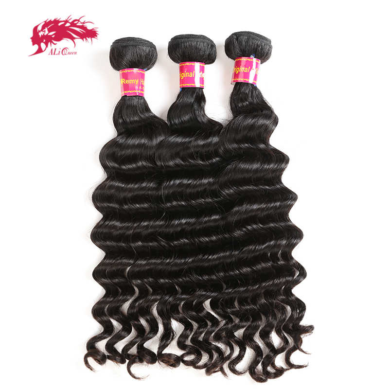 Ali Queen Hair 3Pcs Lot Brazilian Natural Wave Hair Extensions 10-26 inch 100% Remy Human Hair Bundles Natural Color