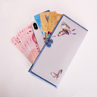 Hand embroidered Wallet For Women Chinese Style Ladies Wallet With Card Holder Butterfly Pattern Silk Purse High Quality