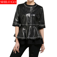 Plus Size Fashion New Women High Quality Sheep Skin White Geometric Line Sweet Black Genuine Leather