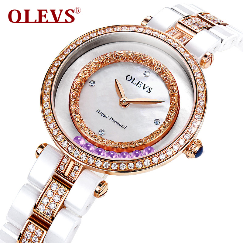 Фото Olevs Luxurious Ladies Watch Rhinestone with Ceramic Fine Steel Strap Drees Women Watches silver Crystal Quicksand relojes mujer