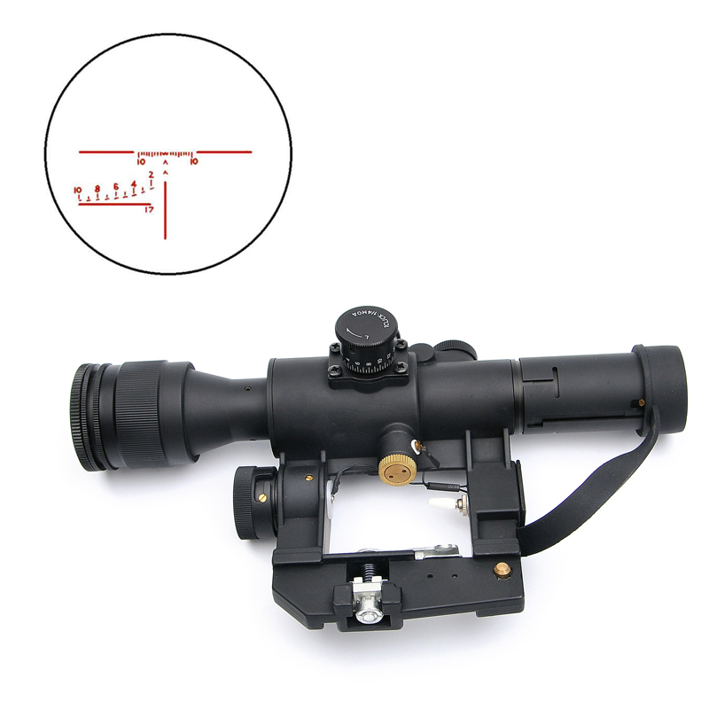 цены Tactical SVD 4X26 Optics Riflescope Dragunov Red Illuminated Sniper Rifle Scope Series AK Rifle Scope For Outdoor Hunting Caza