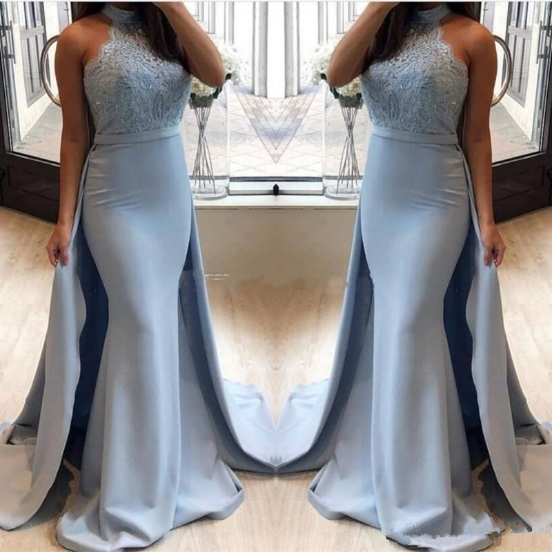 Vintage Mermaid Evening Dresses With Detachable Train 2019 Abito Da Sera Applique Lace Formal Women Prom Gowns Party Dress
