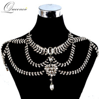 Klassieke nieuwe choker ketting body sieraden sets bruiloft kettingen bruid strass ketting schouder jurk accessoires ketting set