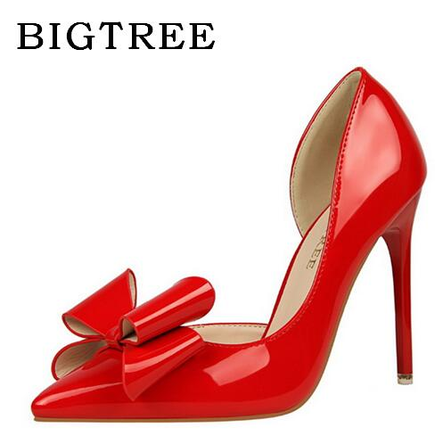 BIGTREE Shoes Spring Autumn Pumps Women's Shoes High Korean Version 10.5cm High-heeled Sweet Sexy Lace Leather Bow Women Shoes bigtree spring summer women pumps sweet bow knot high heeled shoes thin pink high heel shoes hollow pointed stiletto elegant 22