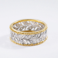 Solid Silver Jewelry Hollow Branch Leaves Two Tone Rings For Women
