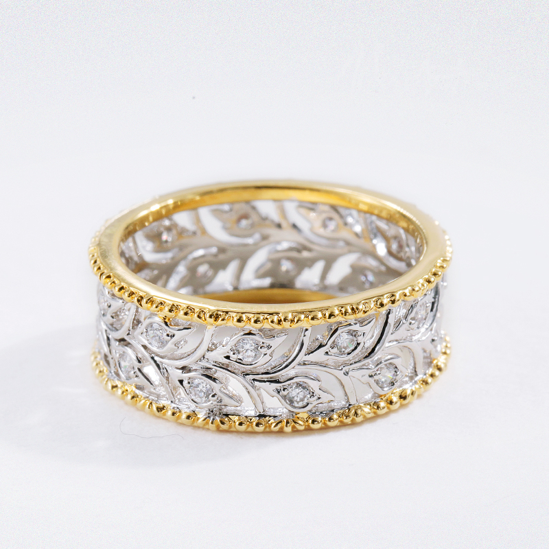 Solid Silver Jewelry Hollow Branch Leaves Two Tone Rings For Women laconic and elegant two pieces of leaves design rings for female