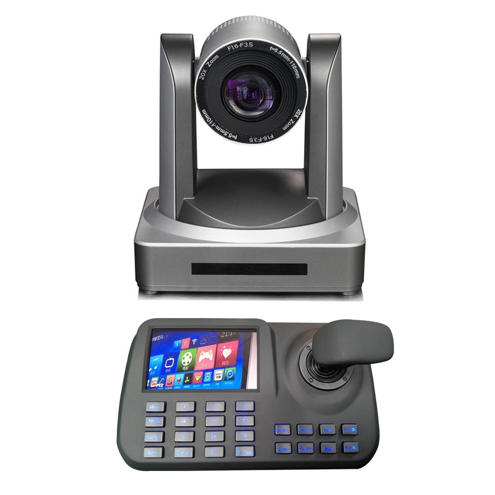1080p60fps 2MP rede IP câmera de vídeo profissional hdmi 3g-sdi 20x zoom óptico mais controlador de teclado de ptz onvif