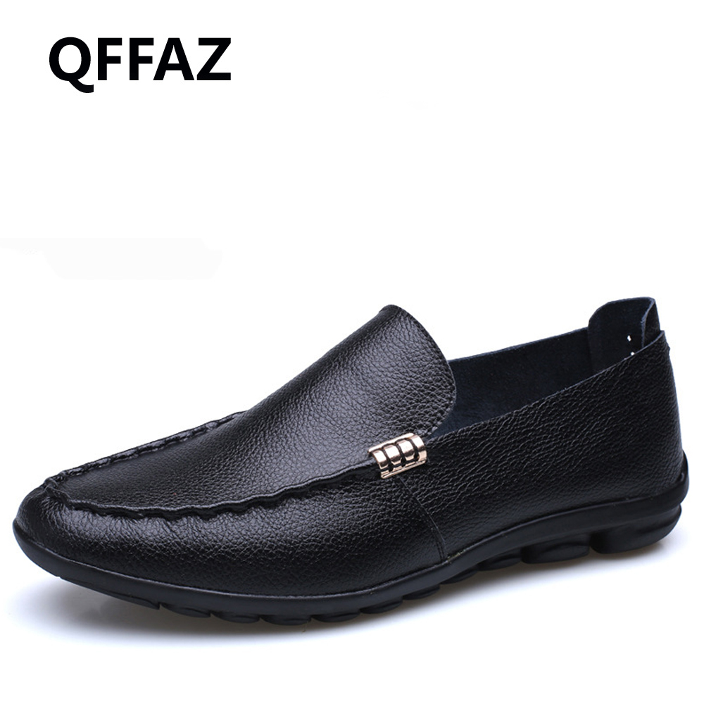 QFFAZ New High Quality Breathable Leather Men Shoes Soft Moccasins Loafers Fashion Brand Men Flats Comfy Driving Shoes