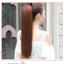 Long Straight Clip In Ponytail Drawstring Synthetic Extensions