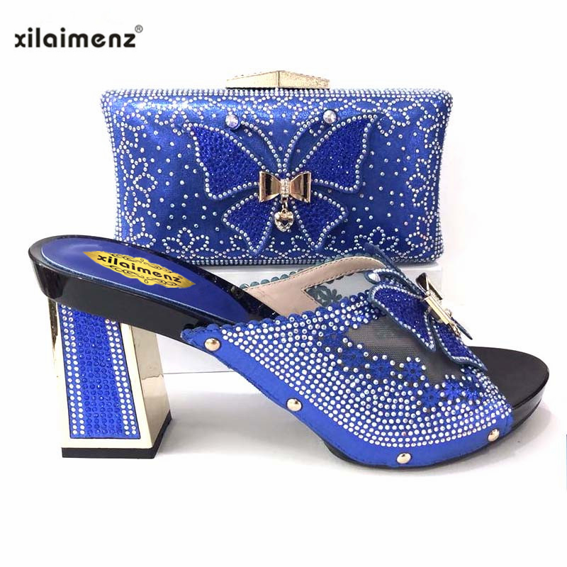 2019 New Arrival Royal Blue Nice Italian Matching Shoes And Clutch Set  African Style Ladies Slipper b1d1958890b2