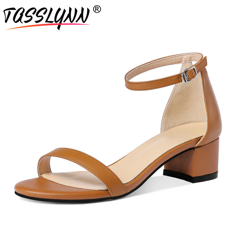 TASSLYNN 2018 Elegant Dress Summer Shoes Cow Leather PU Women Sandals Square Med Heel Ladies Gladiator
