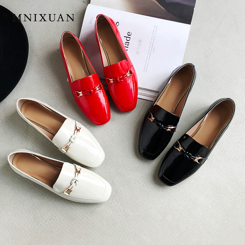 MNIXUAN Handmade women shoes pumps low heels 2019 spring new square toe slip on thick heels